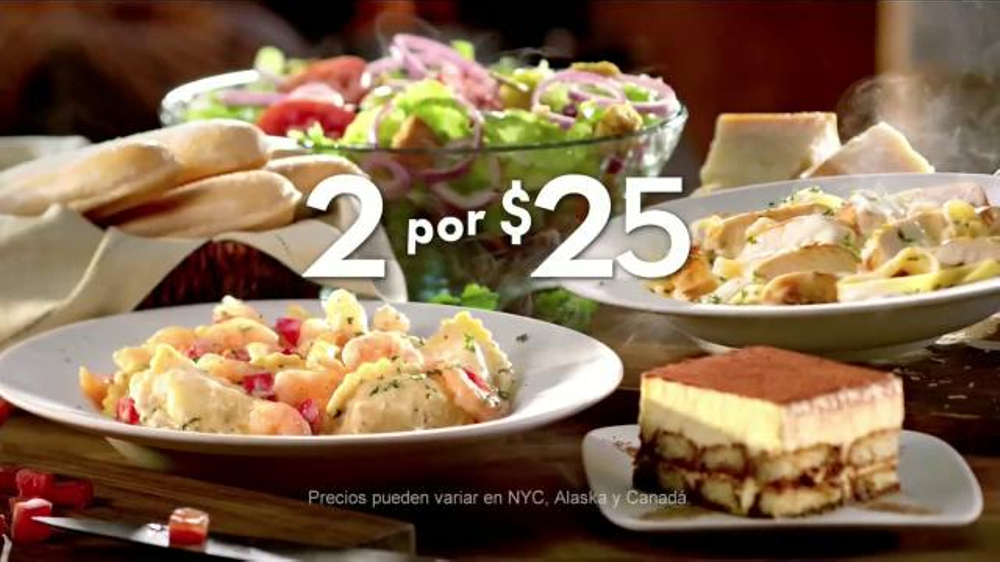 Olive garden 2 for 25 tv commercial 39 platos favoritos 39 What time does the olive garden close