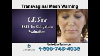 United Law TV Spot, 'Transvaginal Mesh Warning' - Thumbnail 6