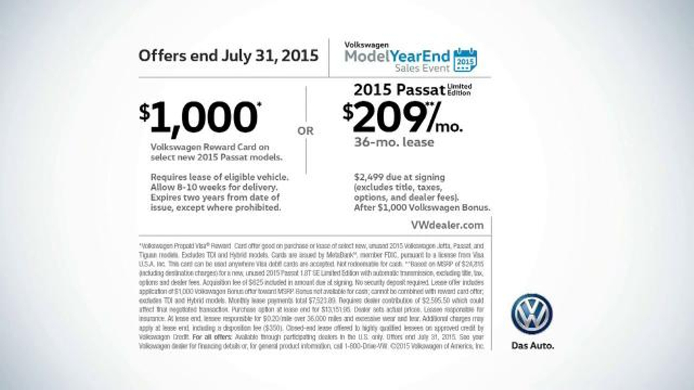 2015 Volkswagen Passat TV Commercial, 'Model Year End Sales Event: Hot Deals' - iSpot.tv