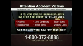 GoldWater Law Firm TV Spot For Car Accident Victims
