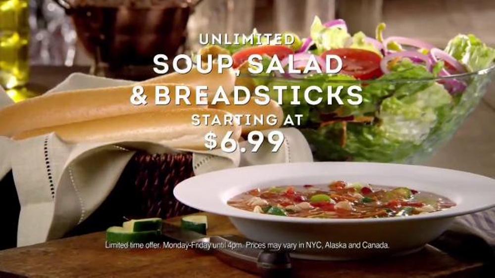 Olive garden unlimited soup salad breadsticks tv commercial 39 never too much 39 for Olive garden soup salad and breadsticks dinner
