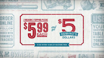 Domino's Medium Two-Topping Pizza TV Spot, '5 Dominos Dollars' - Thumbnail 5