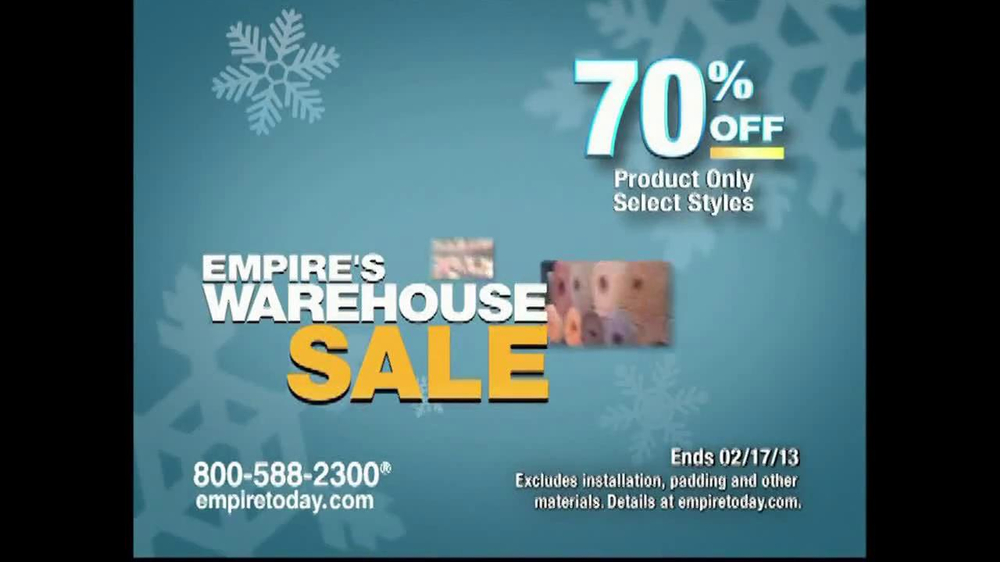 Empire Today Warehouse Sale TV Commercial, '70% on Carpet ...