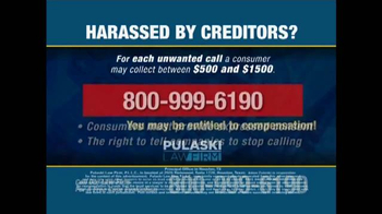 Pulaski Law Firm TV Commercial, 'Harassed by Creditors ...