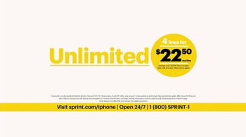 Sprint Unlimited Plan TV Spot, 'iPhone 7 & 4 Lines'