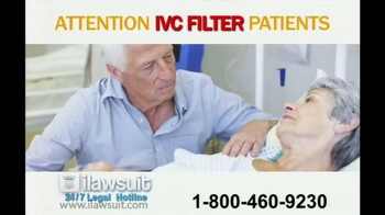iLawsuit Legal Hotline TV Spot, \'IVC Filter\'