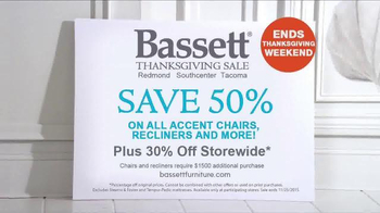 Bassett's Thanksgiving Sale TV Spot, 'Chairs, Recliners, and Bedroom'