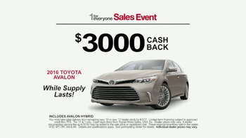 Toyota 1 for Everyone Sales Event TV Spot, 'Prius & Avalon' - 96 commercial airings