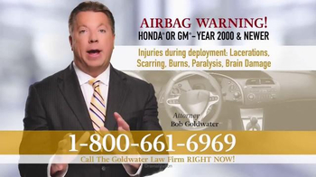 Goldwater Law Firm TV Spot, 'Exploding Airbag'