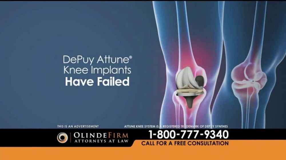 Pulaski Law Firm >> Olinde Firm TV Commercial, 'Attune Knee System' - iSpot.tv