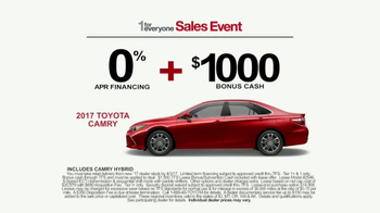 Toyota 1 For Everyone Sales Event TV Spot, '2017 Camry or Camry SE' - Thumbnail 8