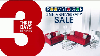 Rooms to Go 26th Anniversary Sale TV Commercial, \'Three Days ...