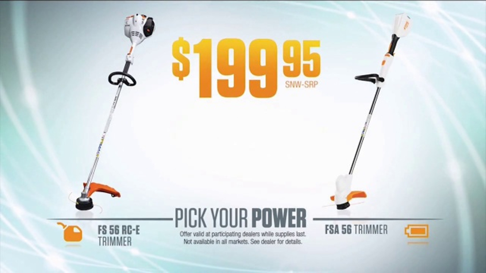 stihl tv commercial 39 pick your power fuel or battery. Black Bedroom Furniture Sets. Home Design Ideas