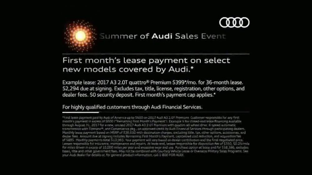 Audi Summer Of Audi Sales Event Tv Commercial Summer